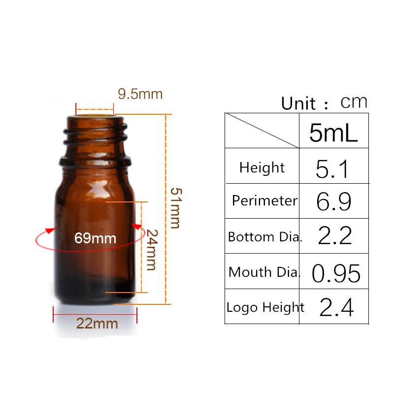 5ml Amber Glass Liquid Reagent Pipette Bottle Eye Dropper Drop Aromatherapy Empty Bottle