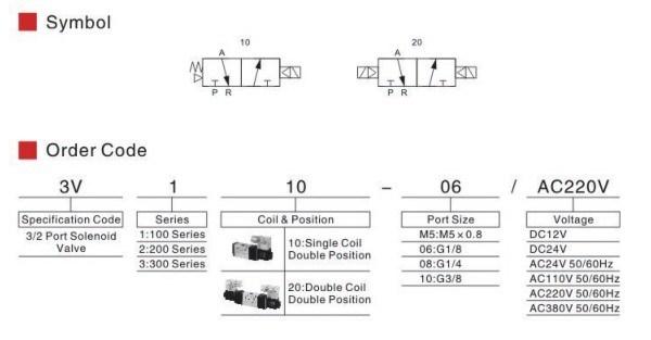 3V Series Solenoid Valve Electric 3 Way Control Valve