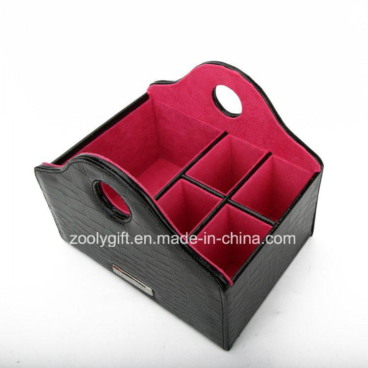 Multifunctional Leather Desk Organizer Holder Promotional Executive PU Leather Desktop Pen Holder