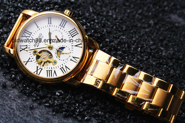 5ATM Waterproof Men's Stainless Steel Wristwatch Bracelet Watch (Gold)