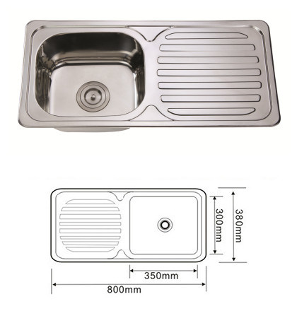 Topmount Stainless Steel Single Bowl Kitchen Sink with Drain Bowl, Wash Basin