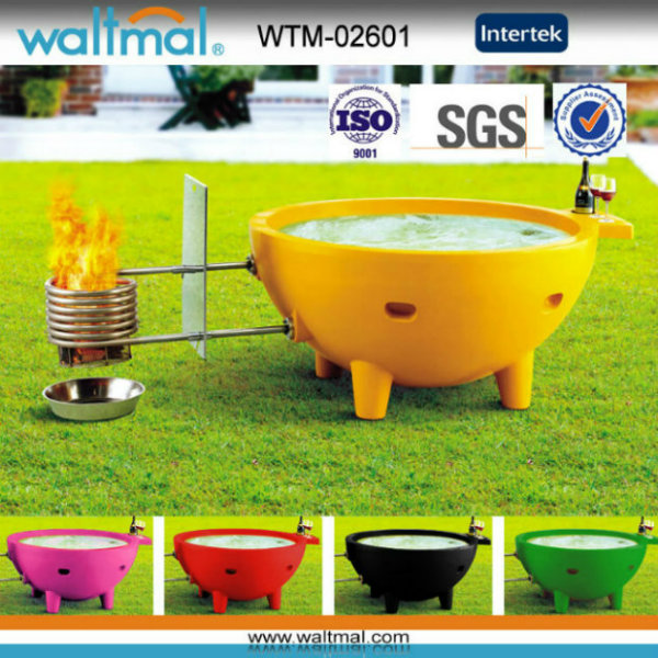 4 People Coloful Wood Fired Outdoor Soaking Hot Tub with BBQ (WTM-02601)