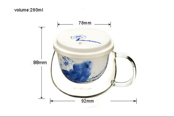 High Borosilicate Glass Tea Cup with Ceramic Infusion
