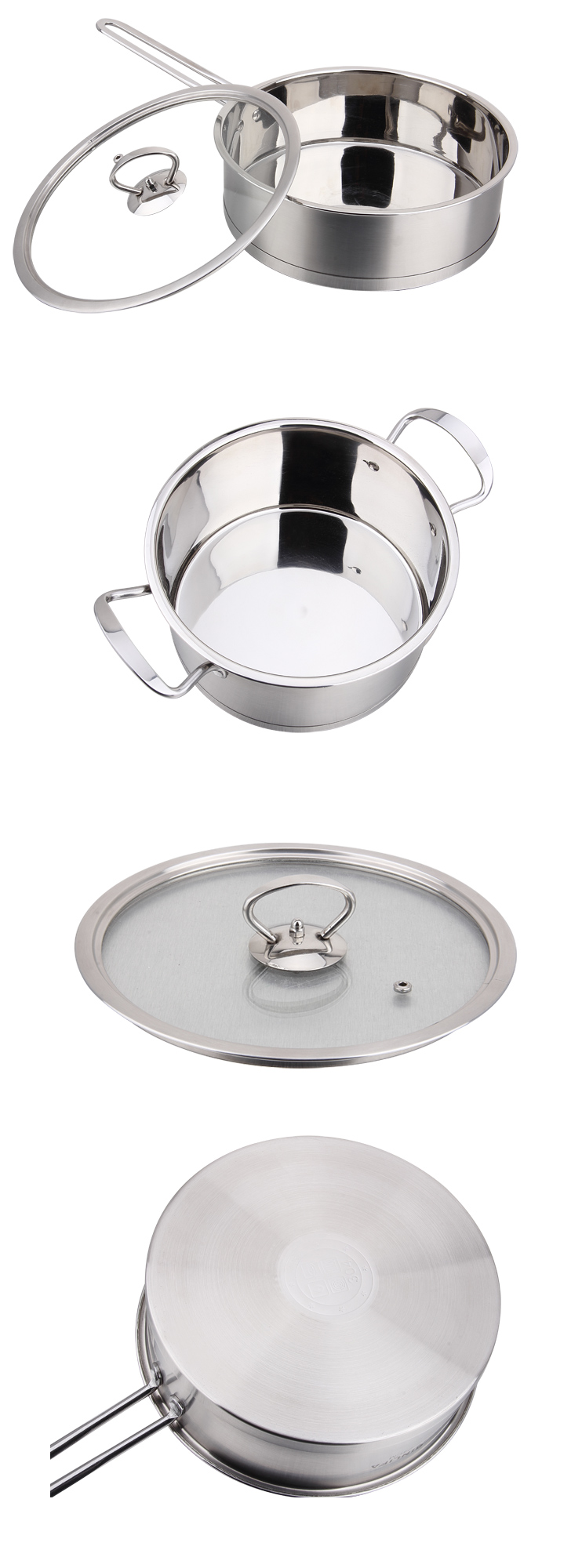 304 Stainless Steel Right Angle Soup Pot with Two Handle