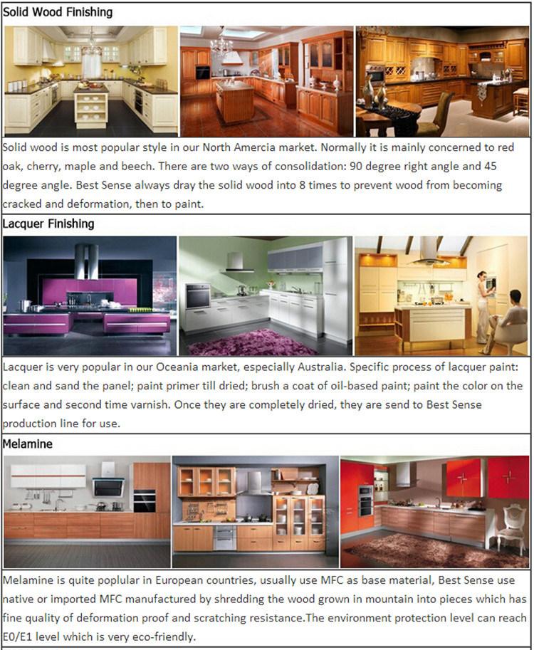 Vertical Wood Grain Melamine Display Kitchen Cabinet