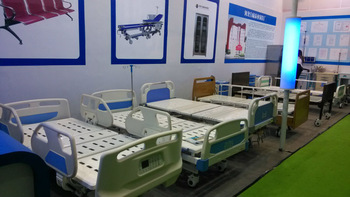 Electric Double-Function Hospital Bed with Wooden Bed Head