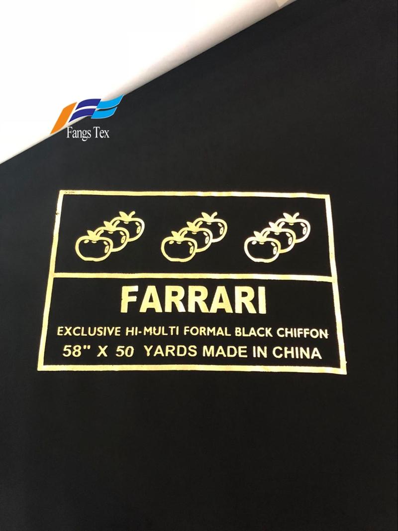 100% Polyester Abaya Formal Black Hi-multi Chiffon Fabric 1