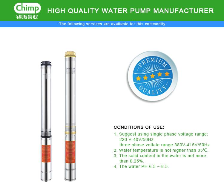 Chimp 1 HP Single Phase Deep-Well Submersible Multistage Centrifugal Electric Water Pump 4sdm308-0.75