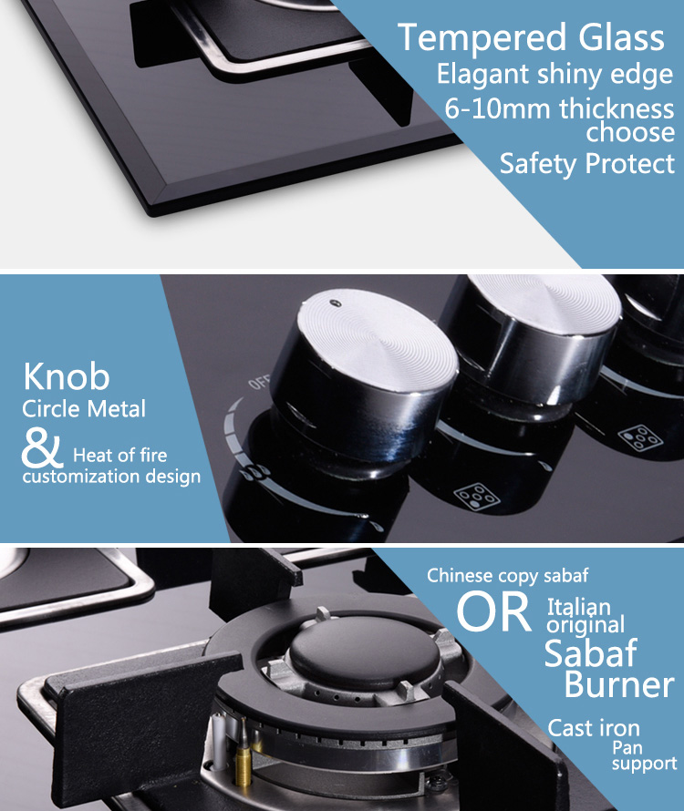 Six Burners Built in Cast Iron Gas Hob Gas Cooktop