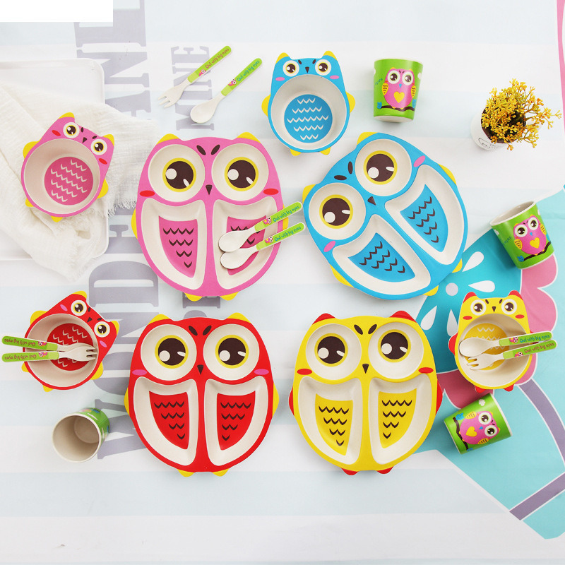 Owl Bamboo Ware Kids Dinnerware Set for Christmas Gift