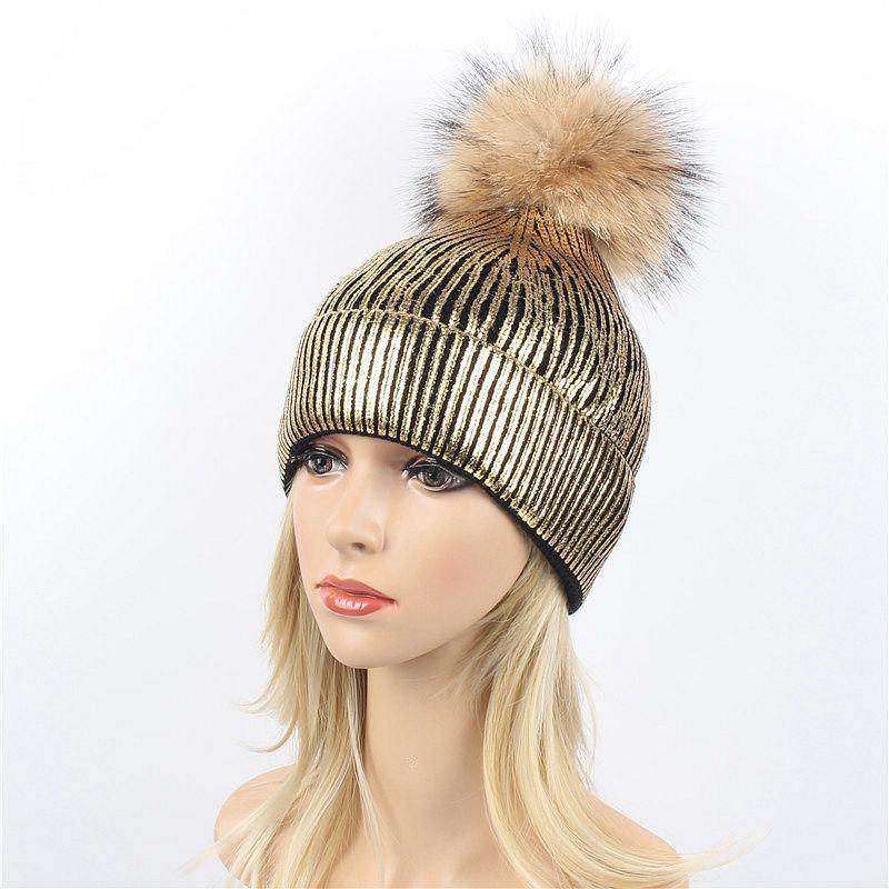 Gold Silver Purple Metallic Acrylic Skullies Girls Real Raccoon Fur POM POM Knitted Cap Hat Beanie (HW138)