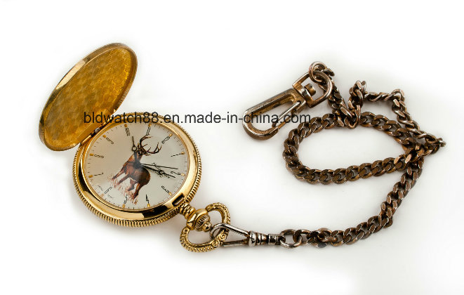 Hot Sale Engraved Gold Quartz Pocket Watch with Chain