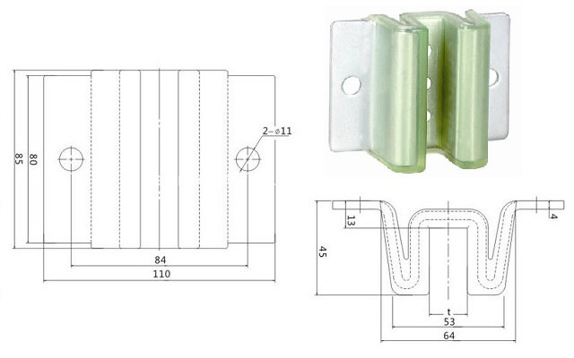 9mm, 10mm, 16mm Mitsubishi Elevator Sliding Guide Shoes (OS47-029/OS47-847W)