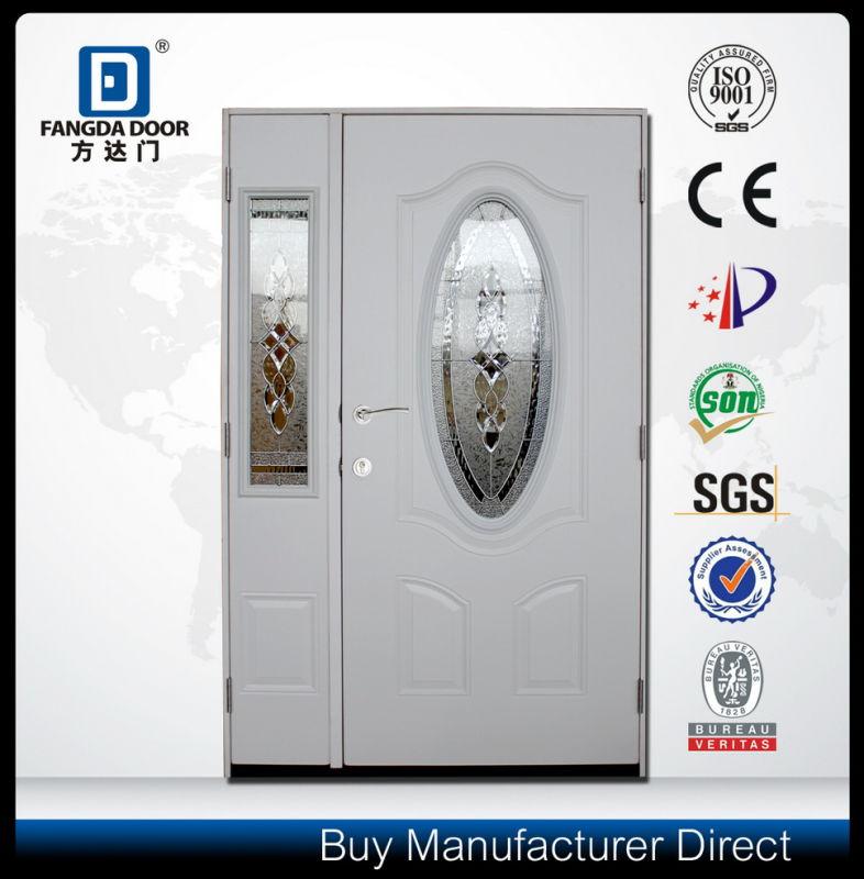 Decorative Glass Inserted Shop Front Steel Door