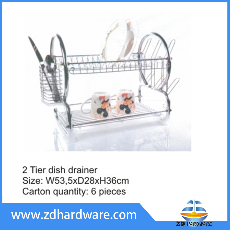 2 Tier Dish Fork Knife Cup Drainer Storage Spoon Holders Kitchen Hardware Baskets Rack