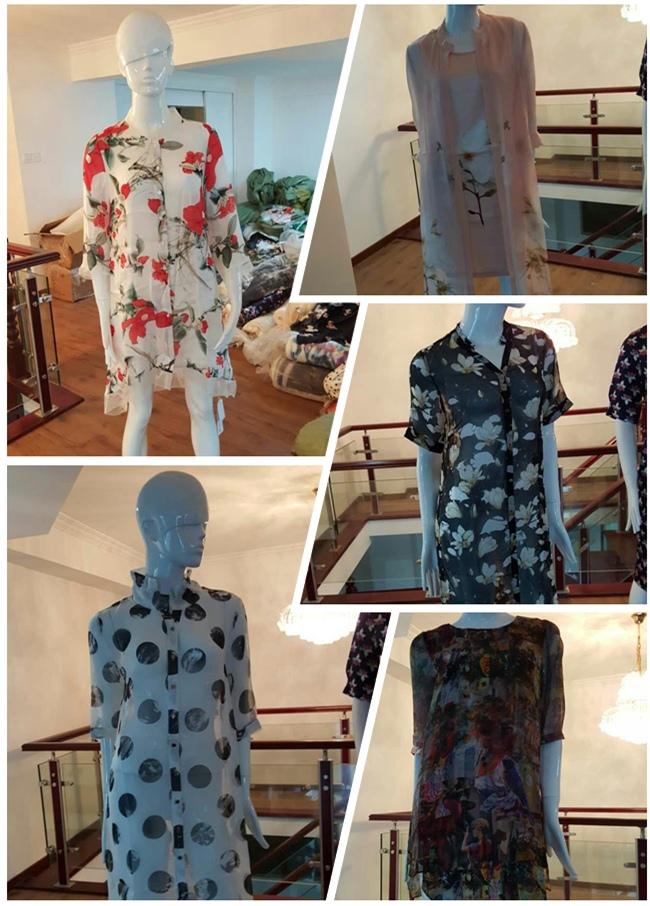 Custom Digital Printing Custom 100 % Silk Fabric (XF-0097)