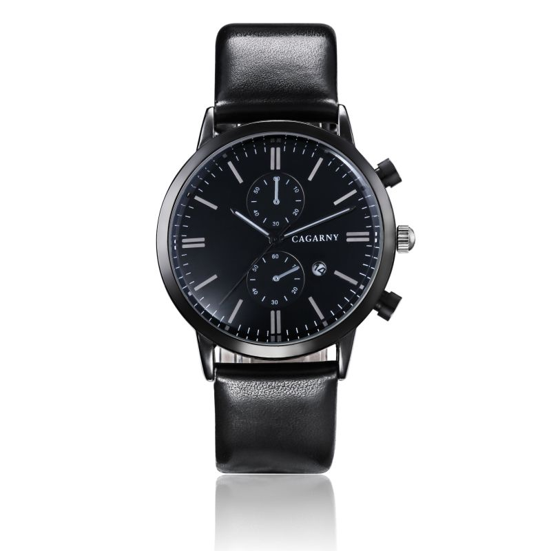 6821 Multifunction Wristwatch Black IP Plated