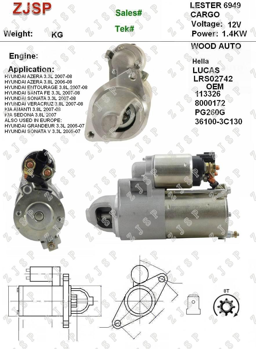 DELCO Starter ZJS-D-007 LRS02742 113326 8000172 PG260G 36100-3C130694912V/1.4KW8TCWHYUNDAI AZERA 3.3L 2007-08HYUNDAI AZERA 3.8L 2006-08