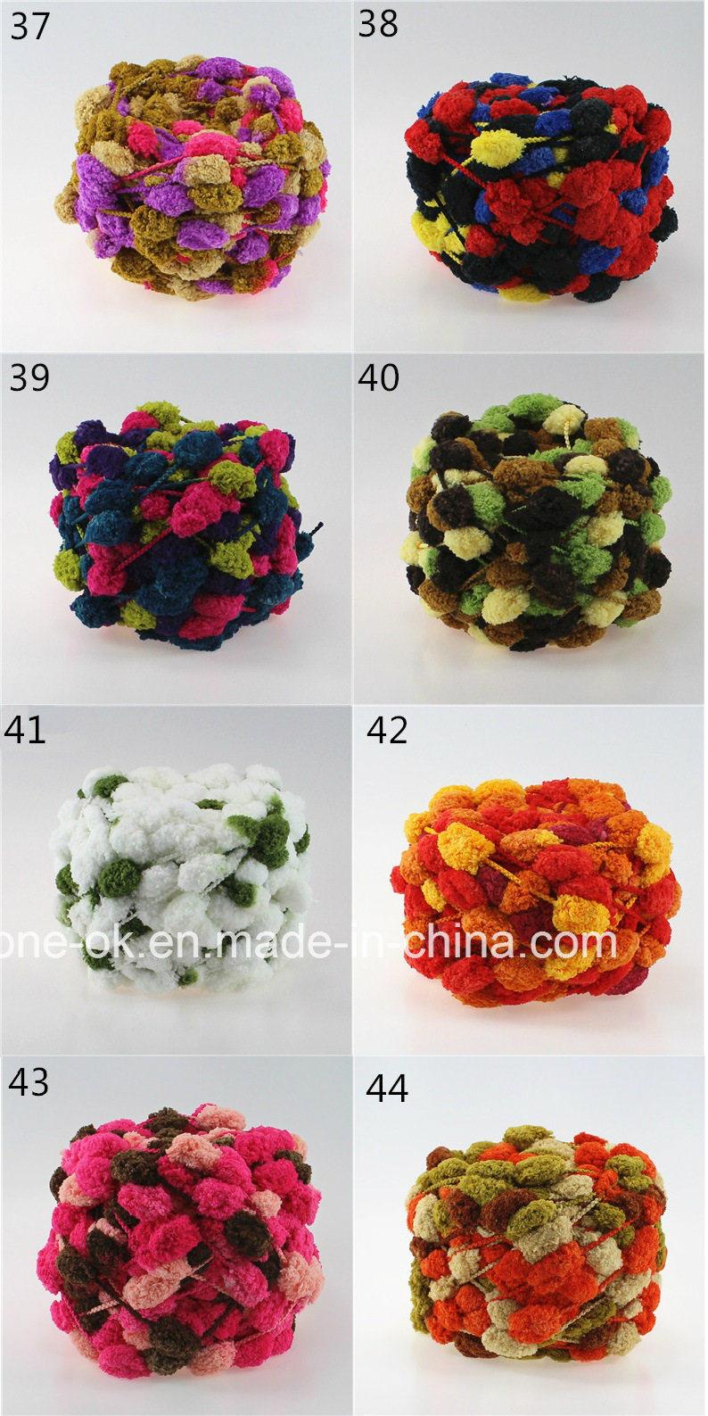 Hand Knitting POM POM Fancy Yarn Knit Crochet Mat Scarf