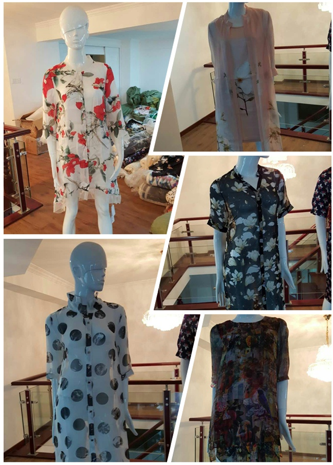 Digital Print Design Polyester Silk Chiffon Fabric (XF-0094)