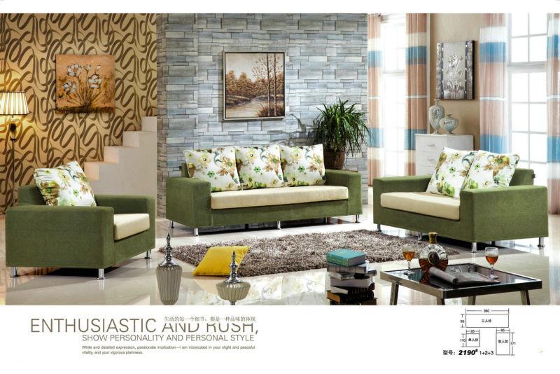 Green Color Dubai Fabric Sofa in Living Room Furniture (2190)
