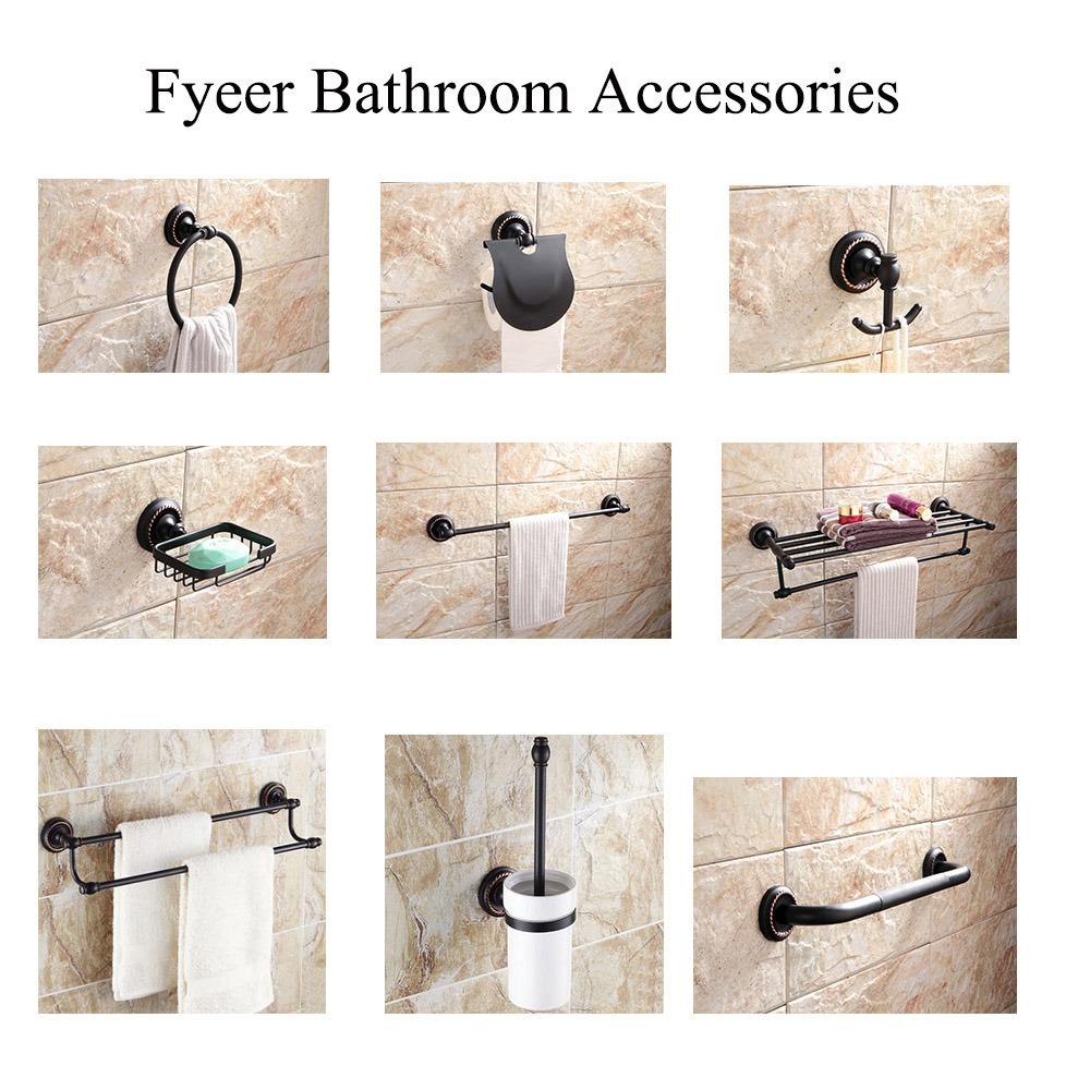 Fyeer Black Series Bathroom Accessory Brass Antislip Safety Grab Bars
