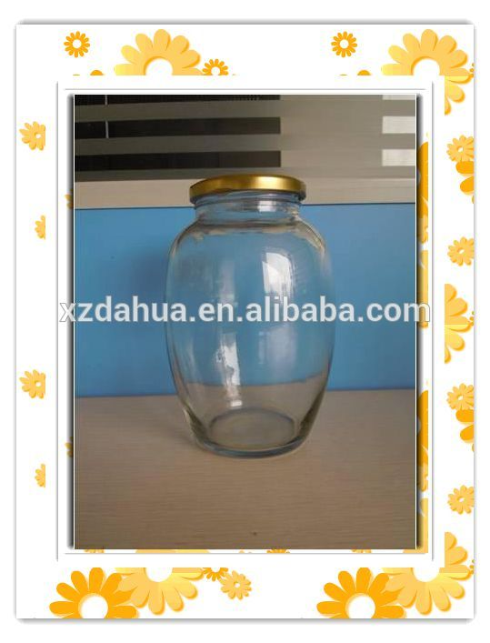 Round Shape High-Capacity Glass Food Storage Jar Pickle Jar with Cap