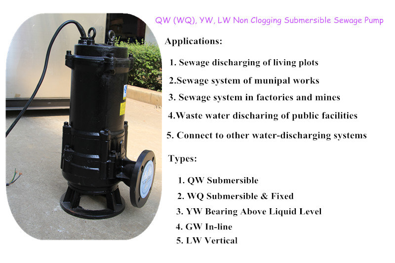 Manual Submersible Sewage and Effluent Pump 8000h Service Life