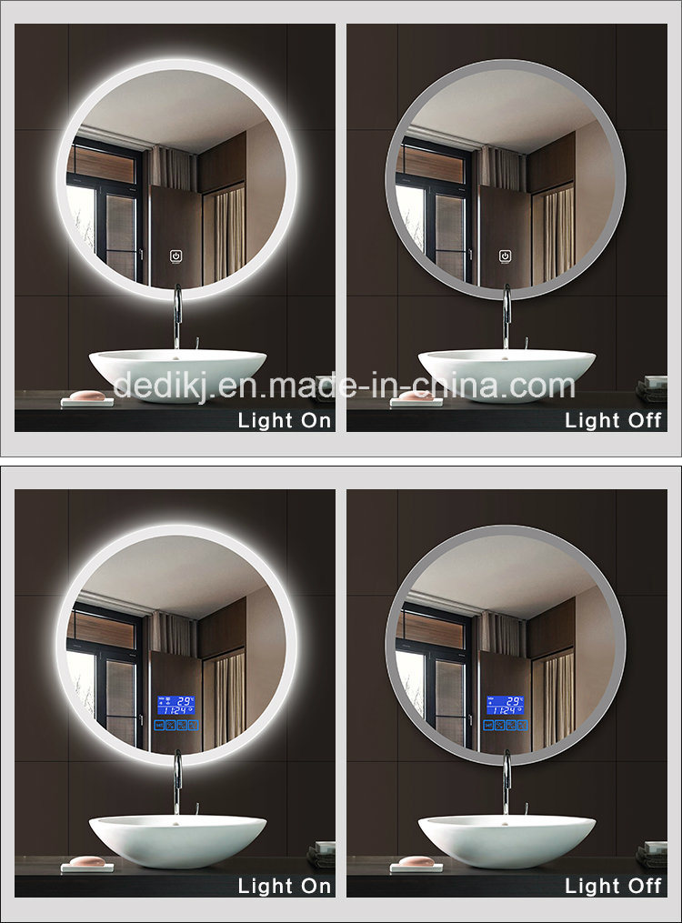 Round LED Backlit Touch Screen Illuminated Bathroom Mirror