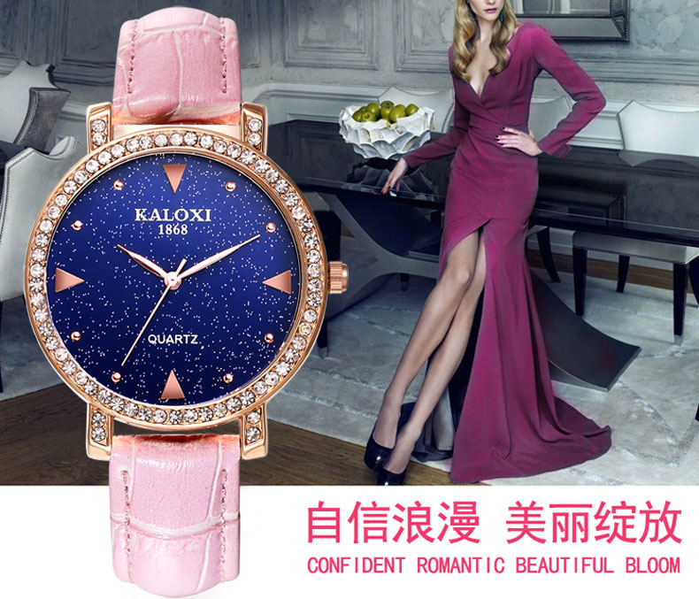 Fashion Ladies Watch with Stones on Bezel