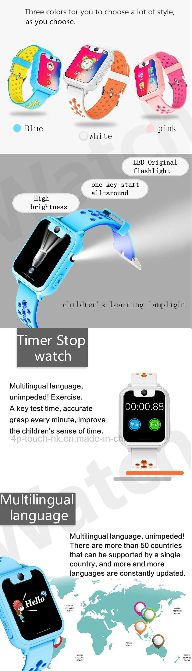 2018 Newest Kids GPS Tracker Watch with Full Screen D12