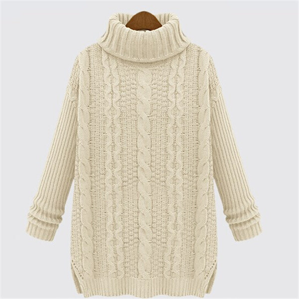 Fashion Loose High Neck Cable Style Knit Lady Sweater