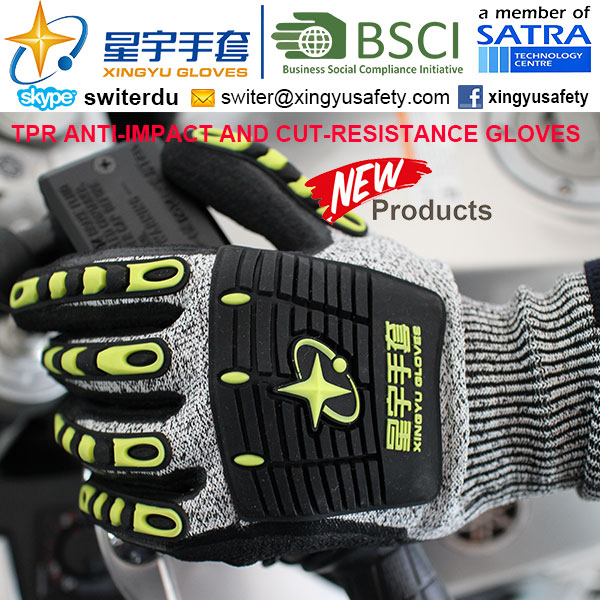 Cut-Resistance and Anti-Impact TPR Gloves, 13G Hppe Shell Cut-Level 5, Nitrile Foam Palm Coated, Anti-Impact TPR on Back Mechanic Gloves