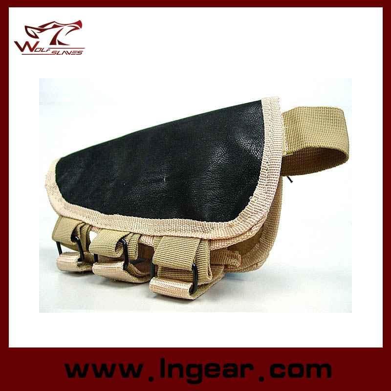 Tactical Airsoft Shotgun Rifle Ammo Pouch Cheek Pad Gun Bag Tan