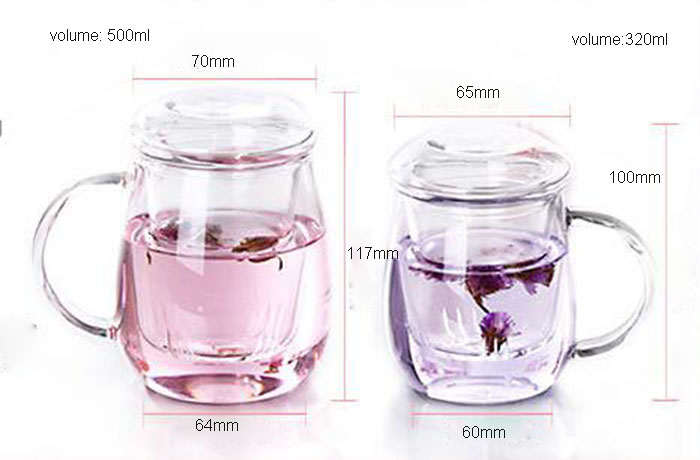 Hand Made Heat Resitance Glass Tea Cup with Infusion and Lid