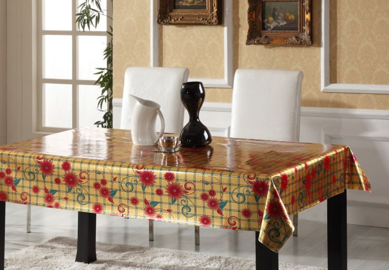 Hot Sale PVC Printed Tablecloth Double Side Glod Embossed Party Use