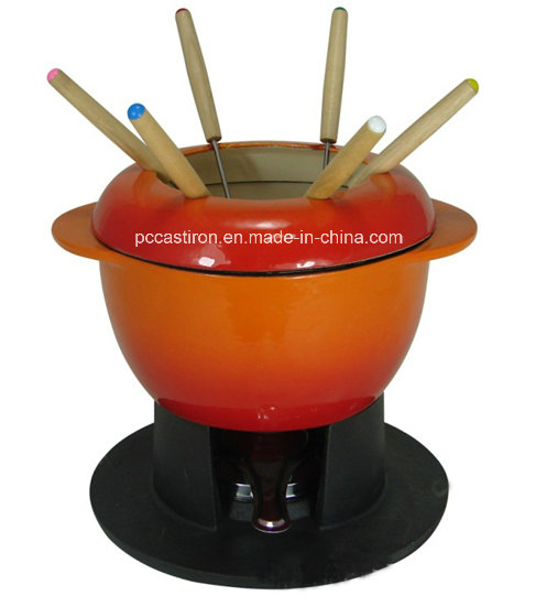 Preseasoned Cast Iron Fondue for Cheese and Chocolate with LFGB Certificate