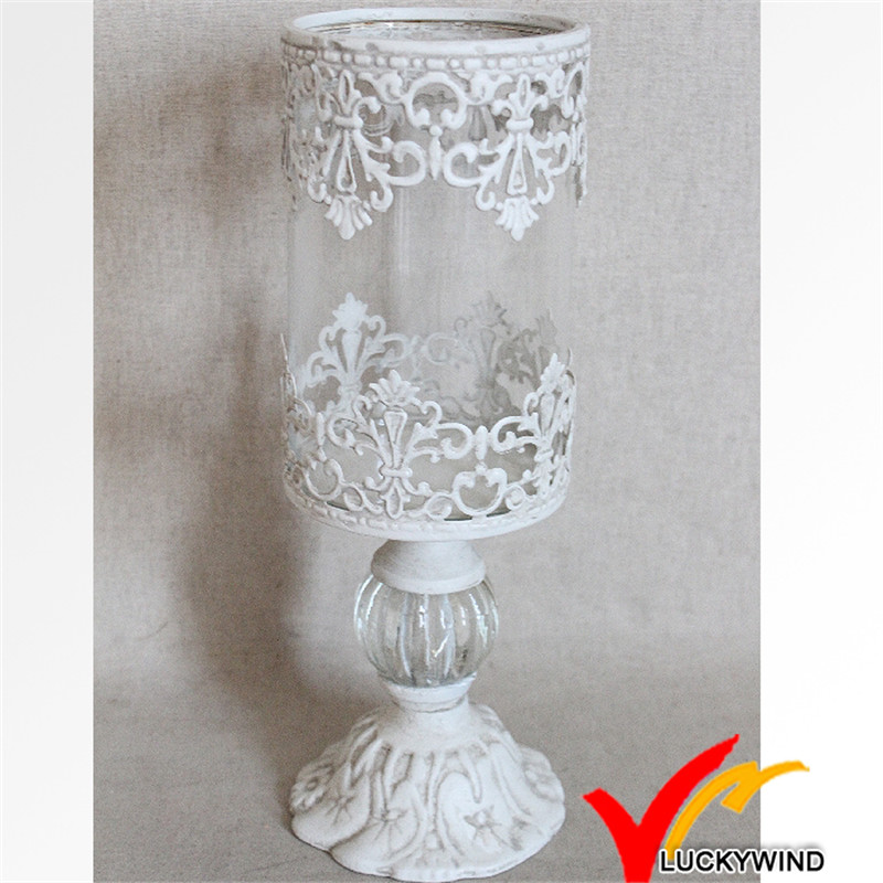 Antique White European Taste Metal & Glass Candleholder