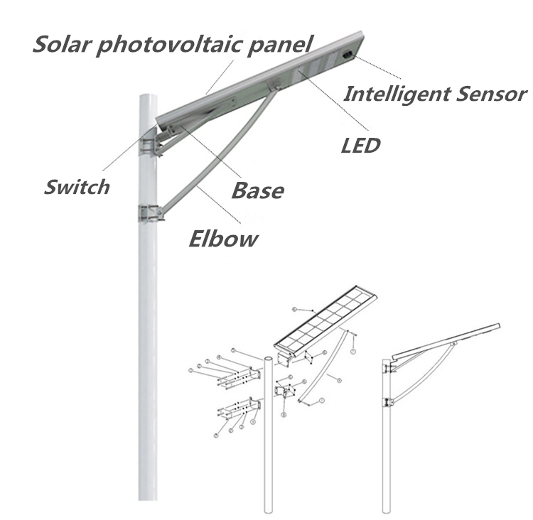 Integrated Solar LED Streetlight Solar LED Road Lights 50W Used for Street with PV Solar Panel Battery and LEDs