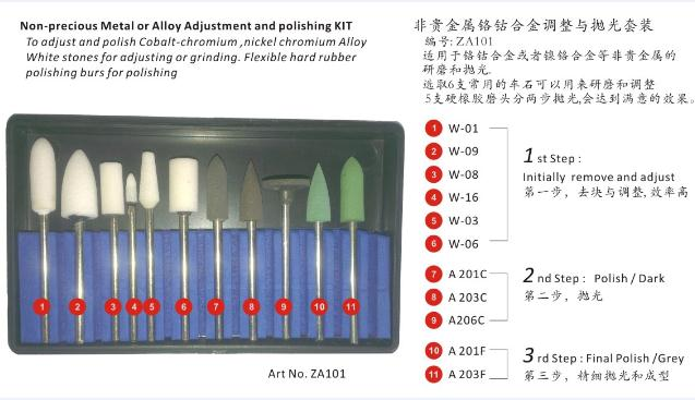 Non-Precious Metal or Alloy Adjustment and Polishing Kit