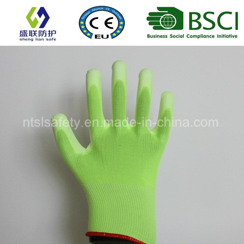 Fluorescent Green PU Coated Work Safety Glove (SL-PU201G)