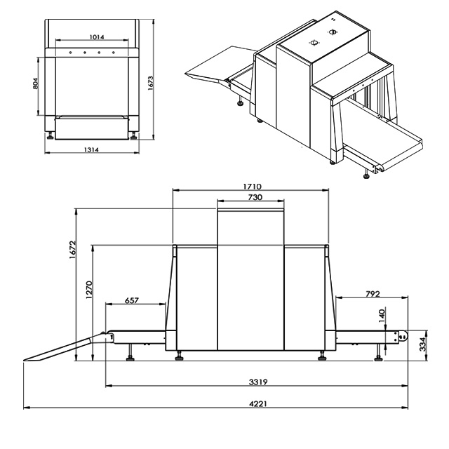 Large Tunnel 100*80cm Baggage Scanners Large Parcel X-ray System with Low-Profile Conveyor