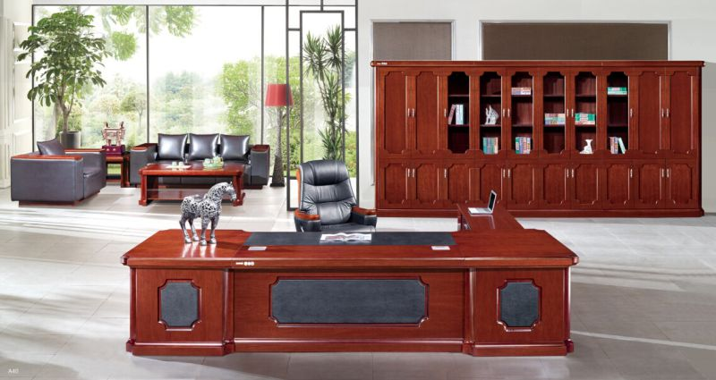 Traditional Reversible L Exclusive Mahogany Executive Desk with Side Cabinet