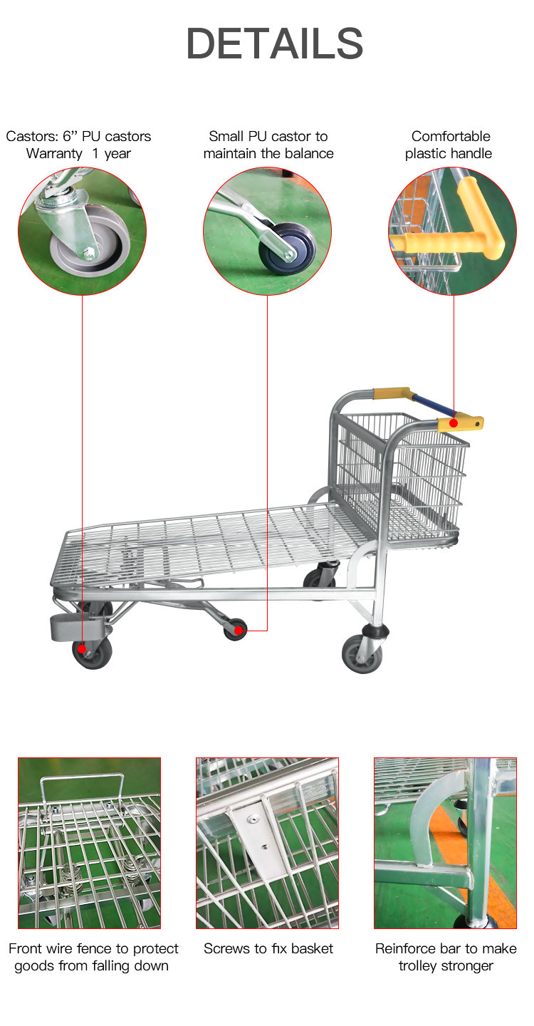 5 Wheel Nestable Metal Warehouse Trolley Cart