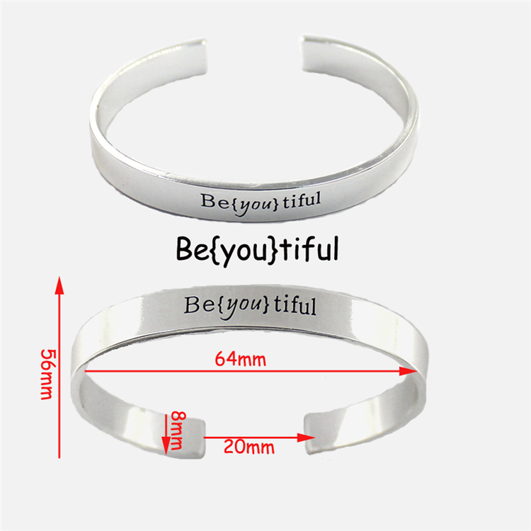 Stainless Steel Cuff Fashion Jewelry Engeaved Personalized Bracelet for Women