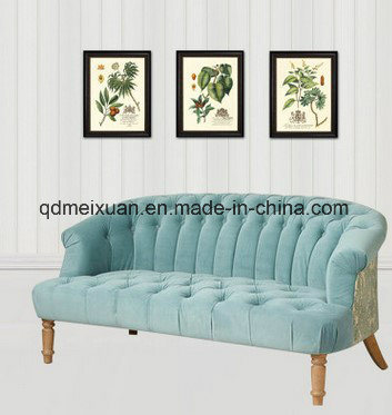 American Country Rural Mediterranean Sofa Furniture Restoring Ancient Ways Leisure Solid Wood Double Cloth Art Sofa in The Living Room (M-X3377)