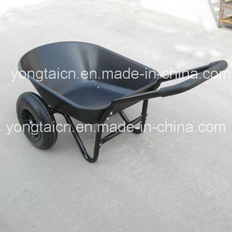 5 Cubic Feet Poly Tray Garden Wheel Barrow with Double Wheels