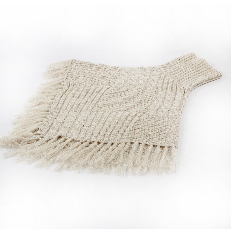 Womens Sweater Cardigan Wraps Winter Knitted Cable Fringes Shawls Poncho (SP610)
