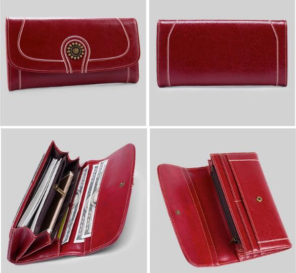 Long RFID Red Leather Travel Clutch Purse Wallet for Women