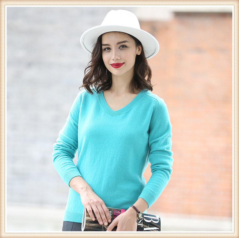 Women's Fashion Pure Color 100% Cashmere Sweater